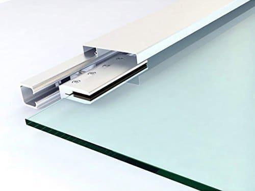 rail cojinetes y pinzas de aluminio de la puerta deslizante de cristal homcom e7-0015