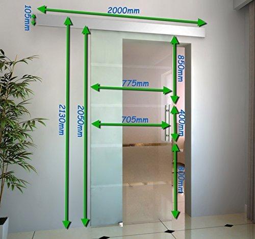 medidas para instalar puerta deslizante de cristal homcom e7-0008